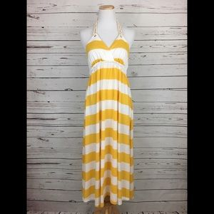 H&M yellow striped backless with braided rope